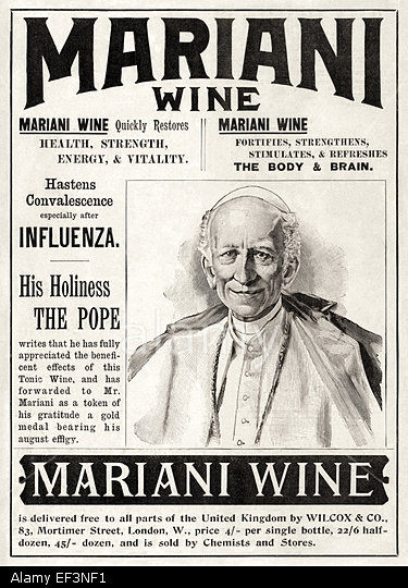 "EF3NF1 ""Mariani Wine"" (aka ""Vin Mariani"") print advertisement featuring the product endorsement of Pope Leo XIII. See description for more information.. Image shot 1899. Exact date unknown."